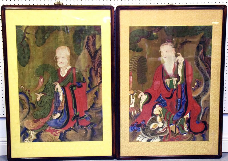 Pair of 19th Century Paintings of Mountain Spirit and Hermit Saint