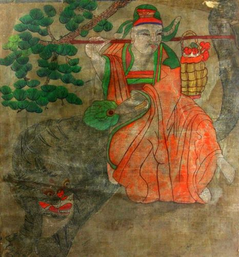 Korean 19th Century Mountain Spirit Painting with a Fantastic Tiger