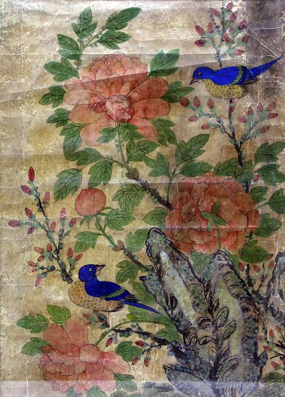 19th Century Bird and Flower Painting w/Symbols of Love and Prosperity