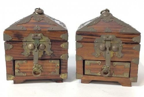 Rare Pair of Boxes for Scholar's Seals with Lovely Wood Grain