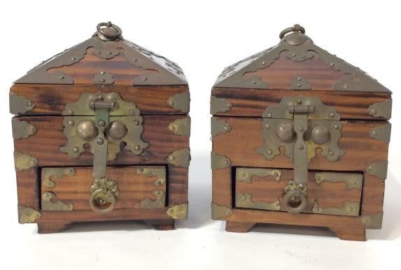 Rare Pair of Boxes for Scholar's Seals with Lovely Grain and Metalwork