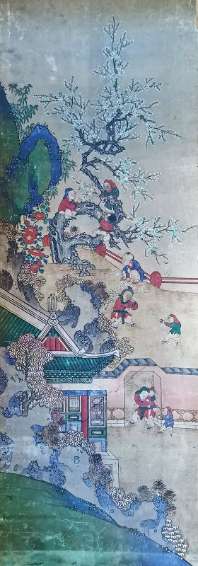 Fine 19th Century Korean Royal Court Painting of Children at Play