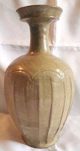 Extremely Rare and Exquisite 10th Century Korean Lotus Celadon Bottle