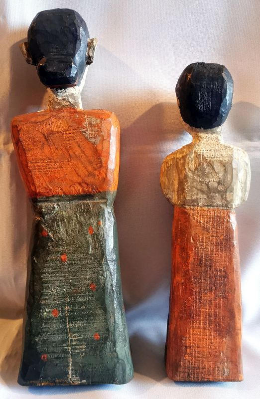 Rare and Sublime Mother and Daughter Pair of Antique Korean Wood Dolls