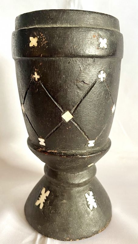 Antique Black Lacquered Mother of Pearl Samoan Kava Cup