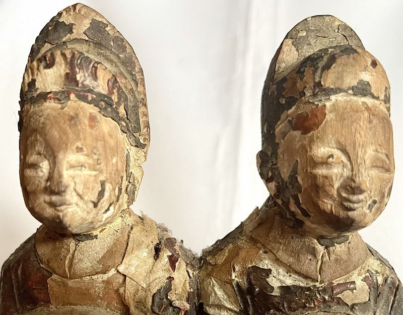 Antique Chinese Wood Sculpture of Royal Couple, Published Collection