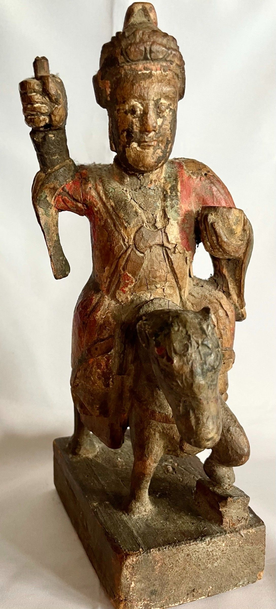 Antique Chinese Wood Sculpture of a General on Horseback