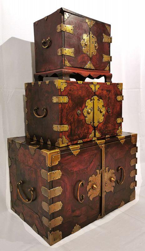 Rare Set of Three Antique Korean Safes w/ Stunning Grain and Metalwork