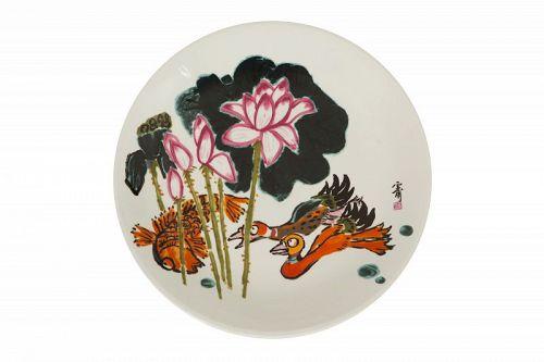 Rare Original Painting on a Porcelain Plate by Kim Ki Chang aka Unbo