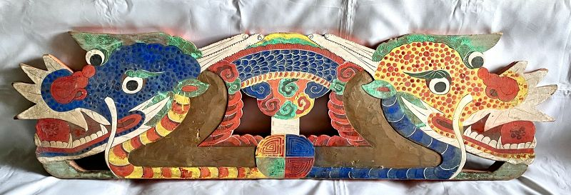 Rare Korean Antique Temple Guardian Dragons, Double-Sided Painted Wood