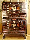 19th Century 7 Butterfly Two Unit Persimmon Chest