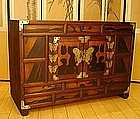 19th Century Korean Seven Butterfly Persimmon Chest