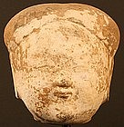 Chinese Han Dynasty Terracotta Head with Kaolin Pigment