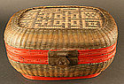 Gorgeous Hinged Basket with Red Lacquered Trim