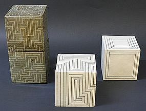 Joo Ji Wan Dark Celadon and White Stoneware Quartet