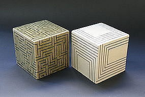 Joo Ji Wan Dark Celadon and White Stoneware Duo