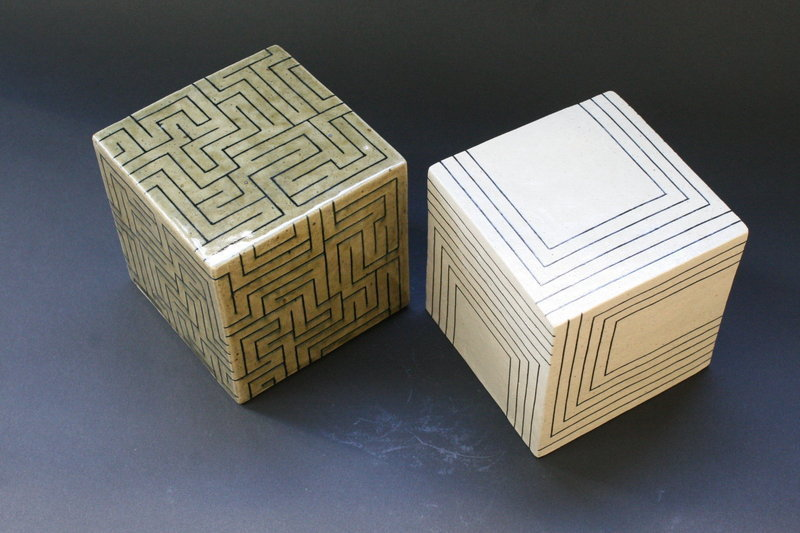 Joo Ji Wan Dark Celadon and White Stoneware Duo