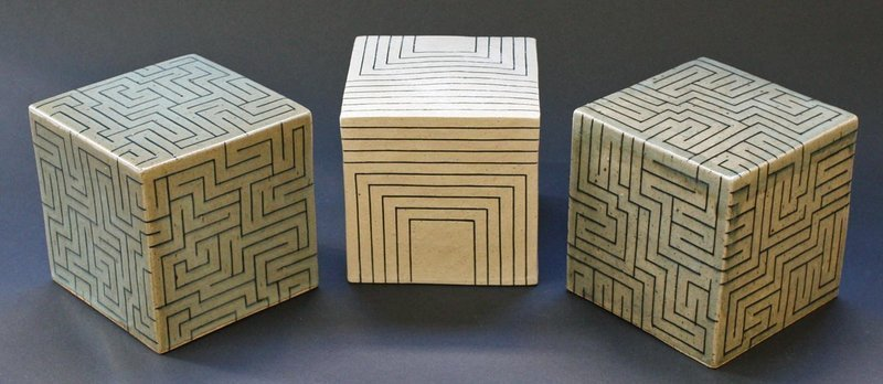 Joo Ji Wan Dark Celadon and White Stoneware Trio