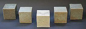 Joo Ji Wan Celadon and White Stoneware Quintet