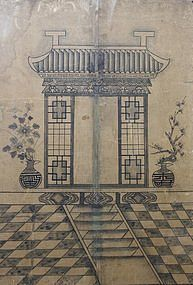 Rare Antique Korean Ancestor Spirit Shrine Painting