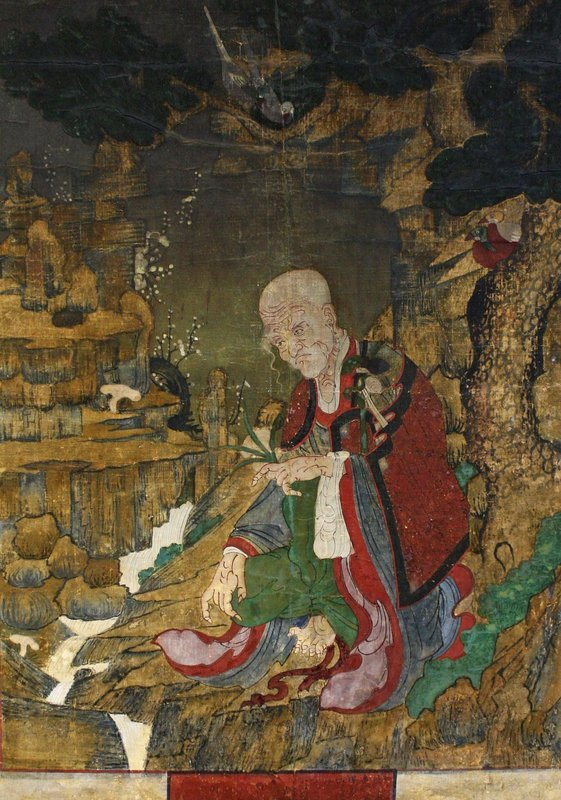 Korea's Hermit Saint, Dokseong, in a Beautiful Landscape Painting