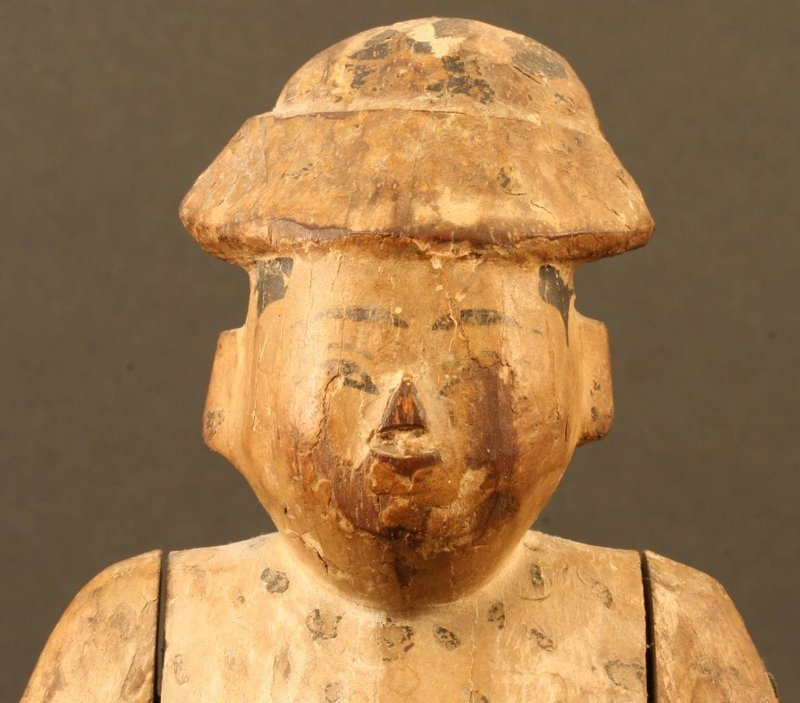 Fine 18th Century Burmese Doll of Wood and Leather