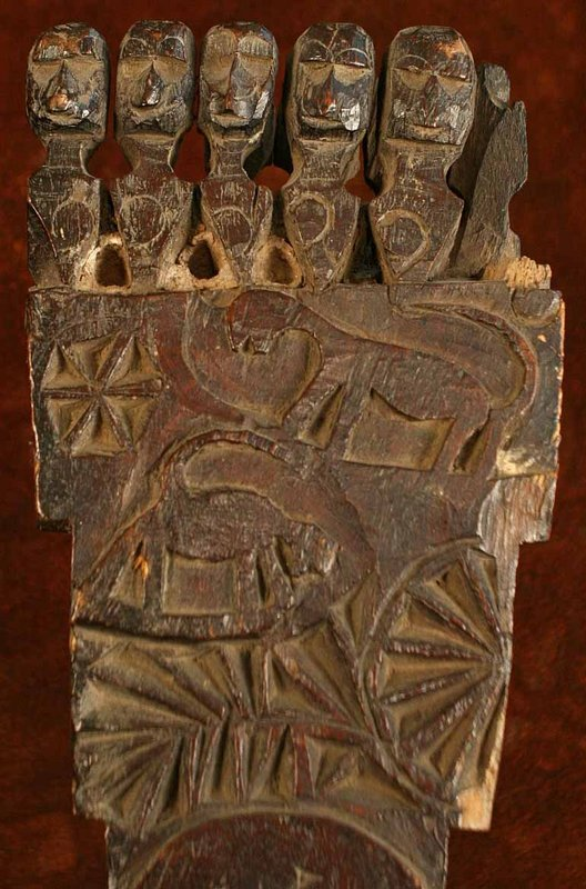 Nepalese Musical Instrument w/Animal and Human Carvings