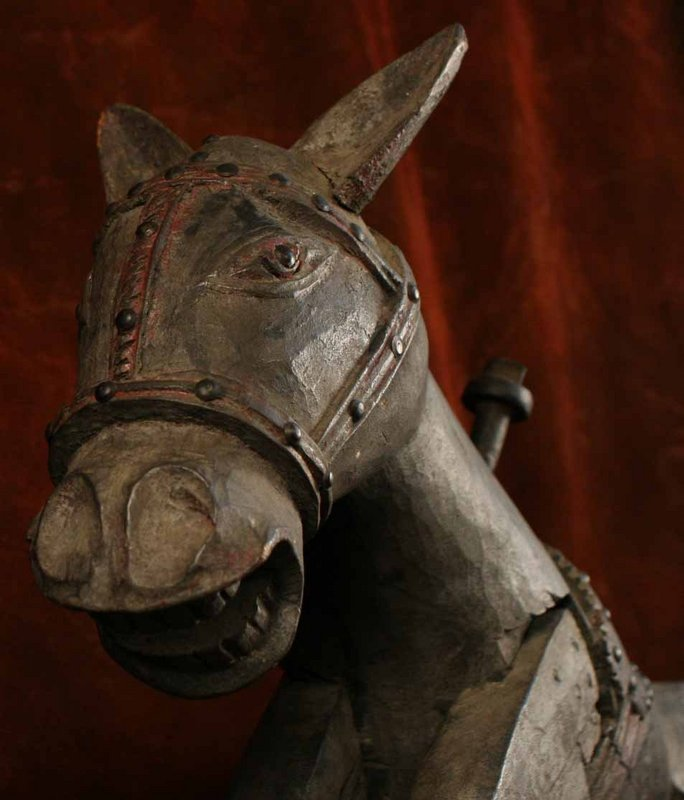 Antique Nepalese Carousel Horse with a Delightful Face