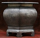 Hexagonal Silver Inlaid Iron Brazier