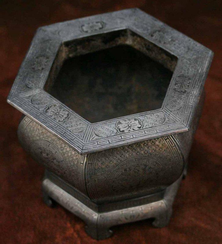 Hexagonal Silver Inlaid Iron Brazier