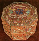 Gorgeous, Old and Rare Octagonal Embroidered Lady's Box
