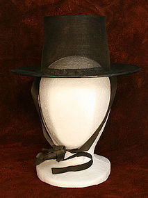 Antique Gentleman Scholar's Hat with Silk Chin Straps