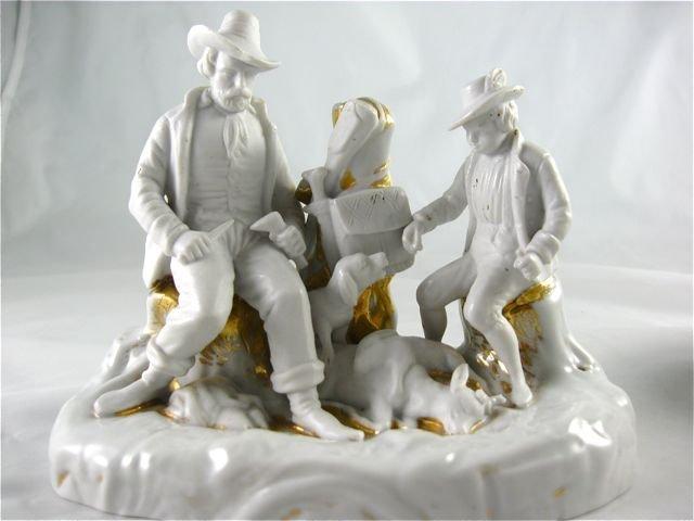 German Porcelain Hunter Trinket Box