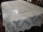 "Vintage Alencon Lace Tablecloth or Bridal Veil 62"" x 110"" Estate"