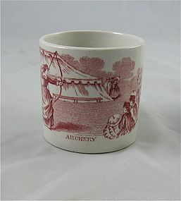"Staffordshire Child's Transferware Cup ""Archery"""