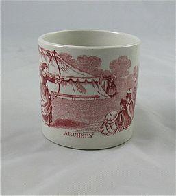 "Staffordshire Child's Transferware Cup ""Archery"""