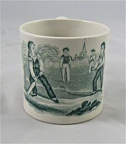 "Child's Staffordshire Transferware Cup ""Cricket"""