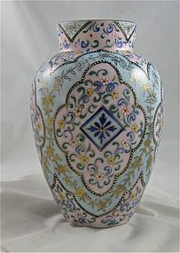 "Webb ""Tapestry"" Moroccan Enameled Art Glass Vase"
