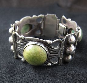 Early, Bold  Elna Taxco Silver Bracelet with Agate