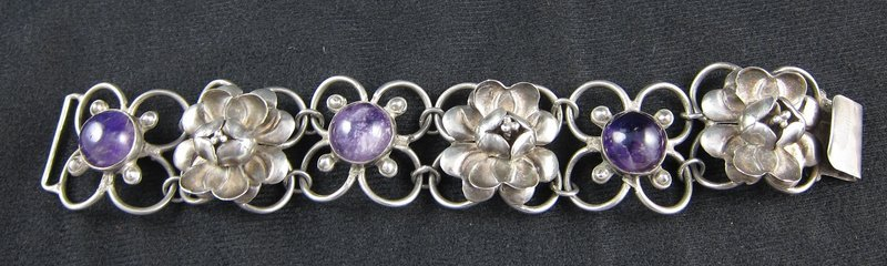 Early Repousse and Amethyst Mexico Silver Bracelet