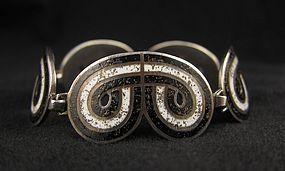 Margot de Taxco Deco Enamel Silver Bracelet