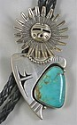 Nelson Morgan Articulated Sterling Turquoise Bolo Tie