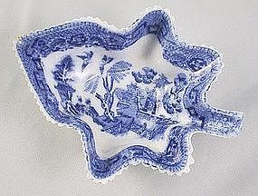 Pearlware Blue Willow Leeds Pickle Dish Ca. 1810