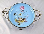 French Opaline Enameled Brass Mounted Tray Ca. 1865