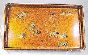 Japanese Maki Lacquer Tray Nashiki Cranes