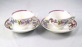 Pair Sprigged Pink Lustre Porcelaneous Teacups Ca 1830