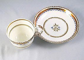 German Beidermeier Gilt Porcelain Cup & Saucer