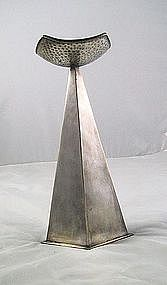 Fabricated Nickel Moderne Candle Pricket/stick