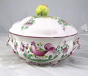 "St Clement French Faience ""Coq"" Tureen Soupiere"