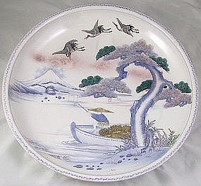 "18"" Imari Charger Taisho Period Fuji And Figural Design"